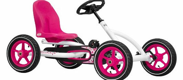 Ride On Kids Buddy Pedal Go Kart - Pink & White