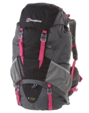 Womens Torridon 60 Rucksack - Jet Black and Pink