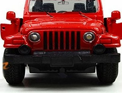 Berry President Alloy Car Model Vehicle Simulation Toy for Children 1:32 Scale Model Jeep Wrangler Car Electric Toy Sound amp; Light - Birthday Christmas Gift (Red)