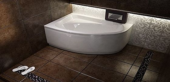 Besco Offset Corner Bath *CORNEA* SPACE SAVER 1400 x 800 mm with Front Panel and Legs *RIGHT HAND*
