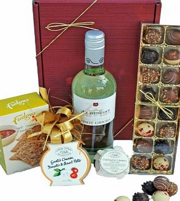Bespoke Gift Hampers Vegetarian Gift Box Wine amp; Paté - Premium White Wine, Goats Cheese paté, Fudges Biscuits, Cider Chutney and Luxury English Chocolates
