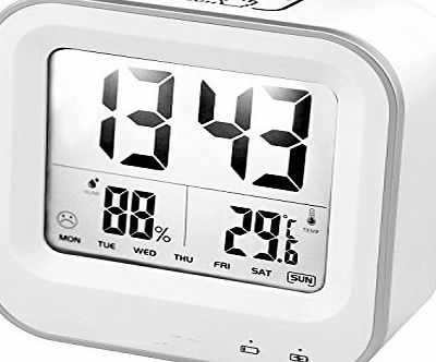 Bestfire  Digital Alarm Clock with Week Temperature Humidity Display, Light Activated Night Light USB Rechargerable Multi-function LED Alarm Clock Snooze Touch Desktop Clock Travel Alarm Clock