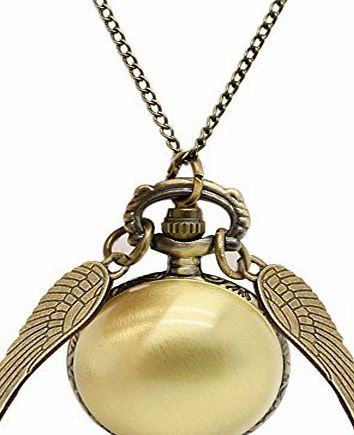 BestFire Pocket Watch Harry Potter Ball Angel Wings Chain Necklace Golden Snitch Golden Wing Pendant
