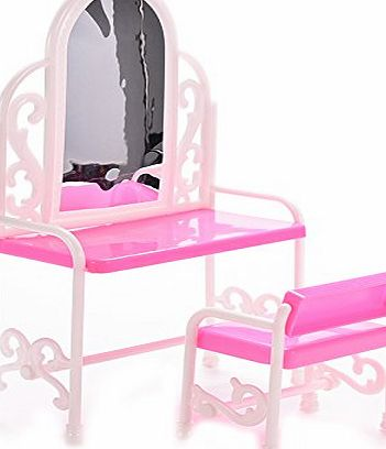 BESTIM INCUK Dollhouse Furniture Dressing Table and Chair for Barbies Dolls Bedroom Furniture
