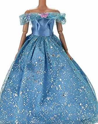 BESTIM INCUK Fashion Handmade Party Evening Wedding Dresses Gown Clothes with Butterfly Decor for Barbie Dolls Girls Birthday Gift