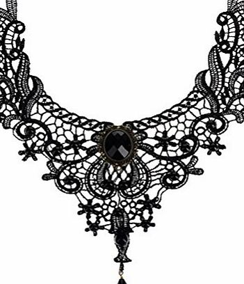 BESTIM INCUK Victorian Steampunk Style Lace Gothic Collar Lolita Beads Pendant Choker Necklace, Black