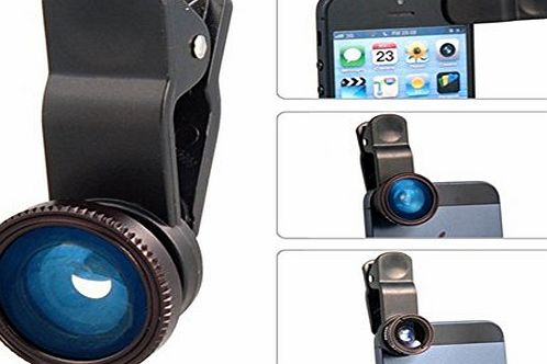 3 in 1 180° Fisheye-Lens + Wide Angle + Macro Lens Clip Camera Photo Kit For Apple iPhone 5/5S/5C/4/4S, iPad Air/iPad 234/iPad Mini, Tablet PC, Laptops, Samsung Galaxy S5/S4/S3/S2/ Note3/Note