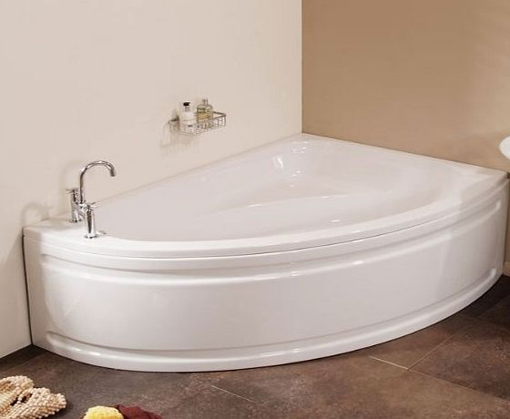 Better Bathrooms ® Offset Bath with Panel 1500 - Luxury Right Hand Small Corner Tub ideal for Compact Bathroom Spaces - Modern White Acrylic Design Fully Reinforced with Fibre Glass (Length: 1500mm, Width: 1050mm, Total