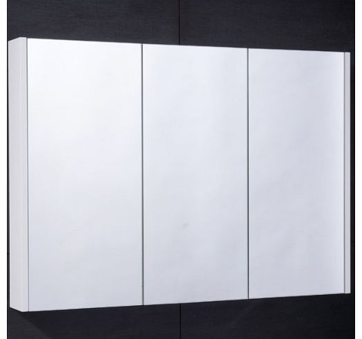 900mm Bathroom Mirrored Cabinet Wall Mounted/Hung Glass Shelved Triple Door