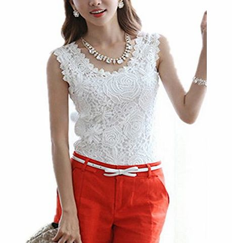 BetterMore Women Ladies Casual Lace Sleeveless Shirts T Shirt Blouse Vest Tops White