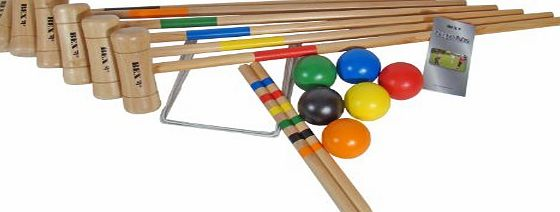 Bex Sport Traditional Outdoor Games Garden Activity Croquet Original With 6 Wooden Mallet