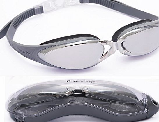 Bezzee-Pro Adult Swimming Goggles by Bezzee-Pro, Anti-Fog Mirror Lens with Leak Proof Eye Cups and Adjustable Straps, Aqua Swim Glasses, Best for Adult Men Women amp; Age 10 , With Quality Goggle Case (Silver)