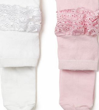 Bhs 2 Pack Baby Frilly Tights, pink/white 1483814095