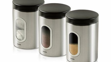 Addis set of 3 stainless steel canisters,