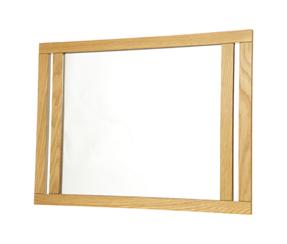 Bathroom wall mirror with oak frame