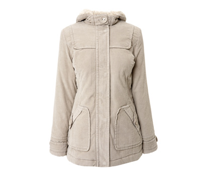Big button hooded cord coat