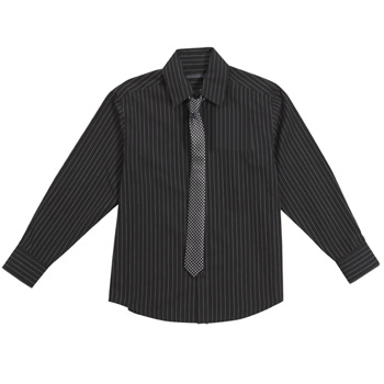Black pinstripe shirt and tie set