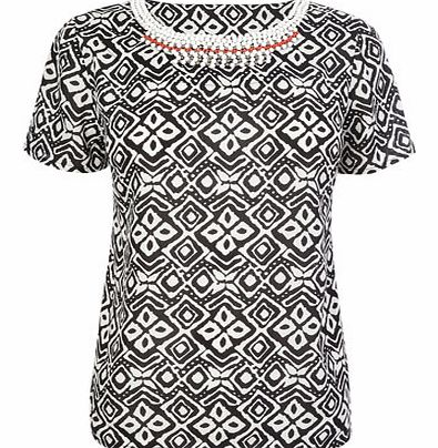 Black Print Necklace Top, black 3390750137