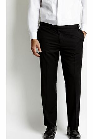 Black Satin Trimmed Tailored Tuxedo Trousers,