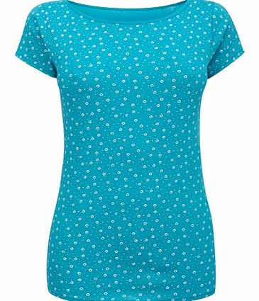 Blue/white Short Sleeve Print Slash Neck,