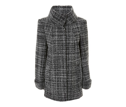 Boucle roll collar swing coat