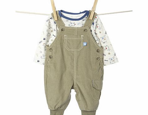 Bhs Boys Baby Boys Cord Dungree Set, biscuit