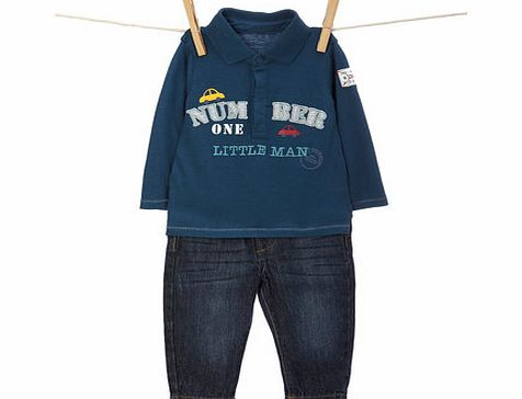 Bhs Boys Baby Boys Long Sleeved Polo Top and Jeans