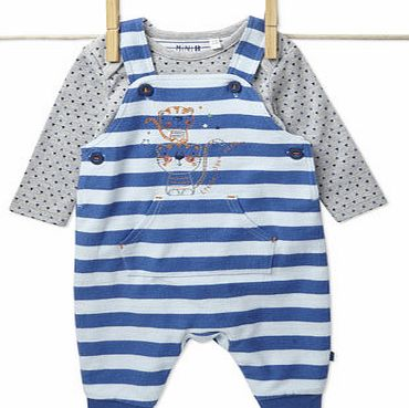 Bhs Boys Baby Boys Striped Dungarees Set, blue