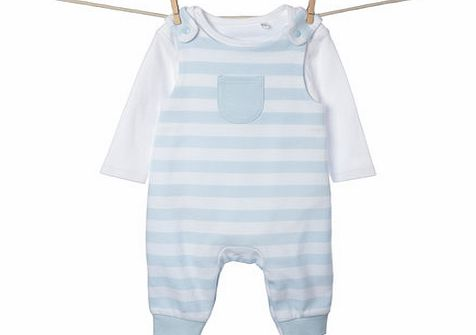 Bhs Boys Baby Boys Striped Dungarees Set, pale blue