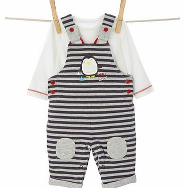 Bhs Boys Baby Boys Wadded Jersey Dungarees Set, grey