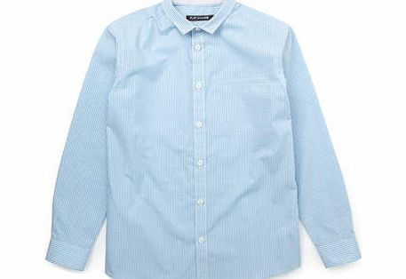 Boys Blue Gingham Collared Shirt, blue 2054951483