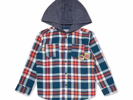 Boys Checked Hooded Shirt, navy 1621410249