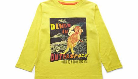 Boys Dino Long Sleeved Top, yellow 1624762383