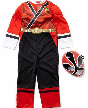 Boys Red Power Ranger Fancy Dress Outfit, red
