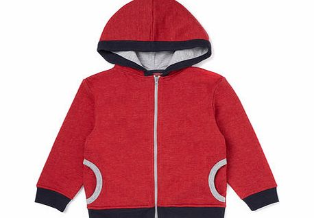 Boys Red Zip Through Hooded Top, red 1621283874