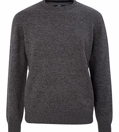 Charcoal Cotton Crew Neck, Grey BR53B03FGRY