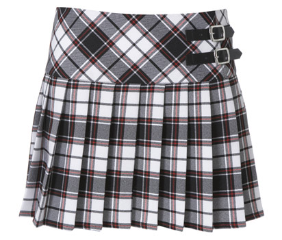 Check double buckle kilt