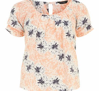 Coral floral tie back tee, orange 19115244796