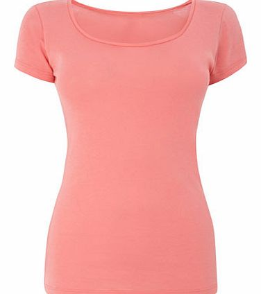 Coral Short Sleeve Scoop Neck Top, coral