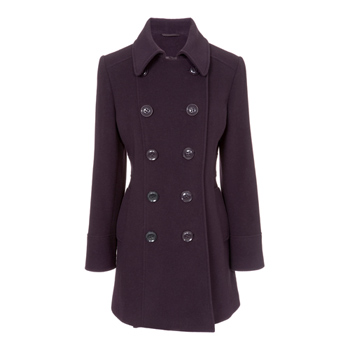 Double breasted seamed reefer coat