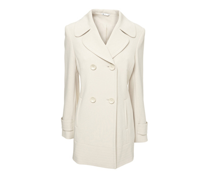 Double crepe reefer style coat