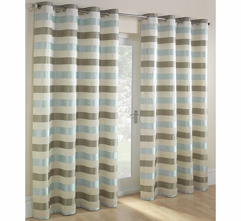 Duck egg Striped Jacquard eyelet Curtain, duck