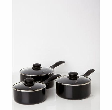 Bhs Essentials black 3 piece pan set, black 9551828513