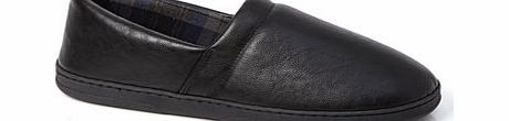 Faux Leather Classic Slippers, Black BR62F04DBLK