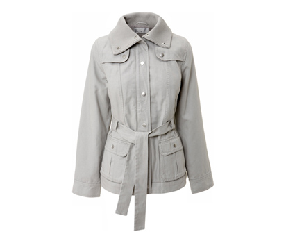 Fleece lined belted canvas coat