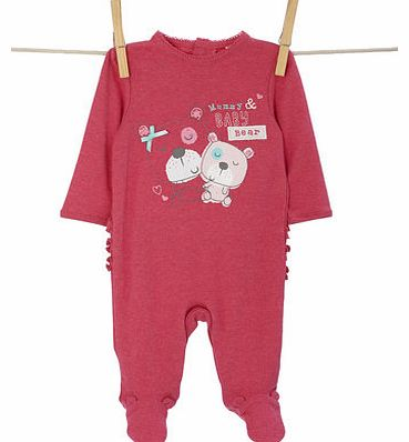 Girls Baby Girls Bear All In One, dark pink