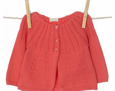 Girls Baby Girls Coral Knitted Cardigan, coral