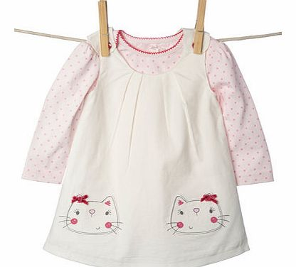 Bhs Girls Baby Girls Cord Pinafore Dress Set, ivory