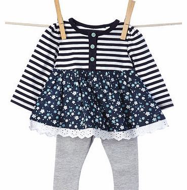 Girls Baby Girls Floral Striped Tunic Top &