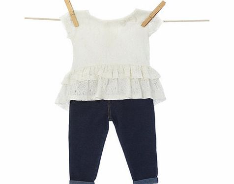 Bhs Girls Baby Girls Lace Peplum Top and Jeggings